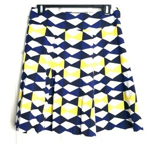 INC international navy, blue, yellow & white skirt